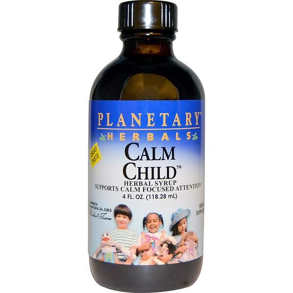 Planetary Herbals, Успокаивающее для детей, травяной сироп, 4 жидких унции (118.28 мл)