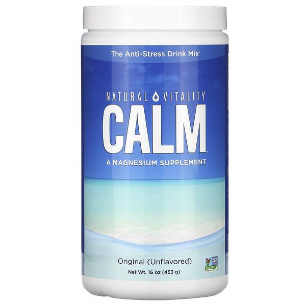 Natural Vitality, CALM, антистрессовая смесь для напитков, оригинальный (без ароматизаторов), 453г (16унций)