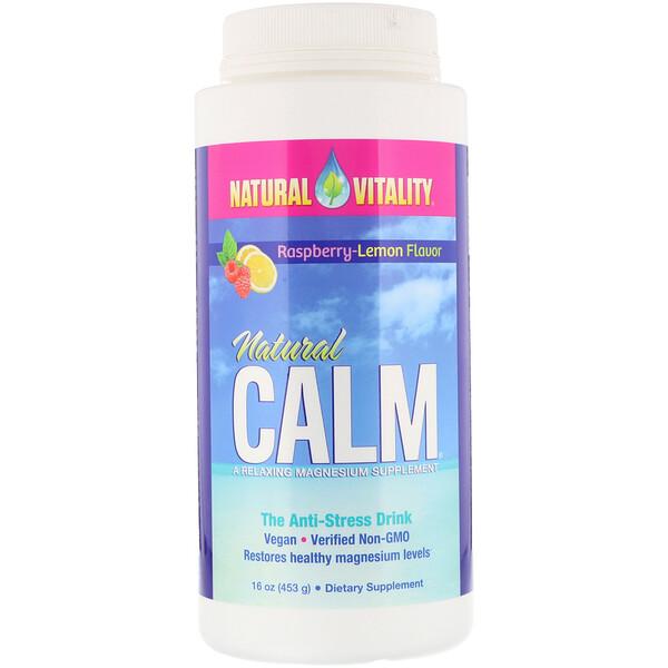 Natural Vitality, Natural Calm, антистрессовый напиток, вкус органической малины и лимона, 453 г