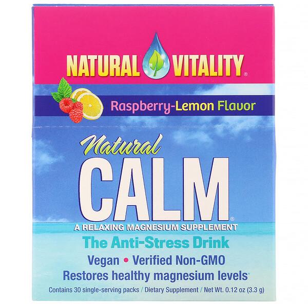 """Natural Vitality, """"Натуральное успокаивающее"""", со вкусом лимона и малины, 30 порционных пакетиков, 0.12 унций (3.3 г)"""