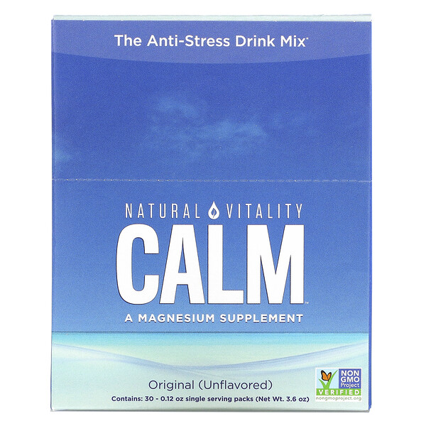 Natural Vitality, CALM, The Anti-Stress Drink Mix, Original (Unflavored), 30 Single Serving Packs, 0.12 oz (3.3 g) Each