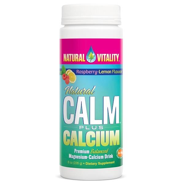 Natural Vitality, Естественное спокойствие плюс кальций, Вкус малины и лимона, 8 унций (226 г)