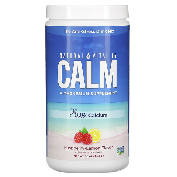 Natural Vitality, Natural Calm Plus Calcium со вкусом малины и лимона, 454 г (16 унций)