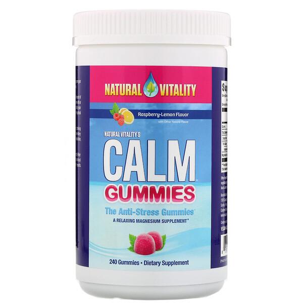 Natural Vitality, Calm, антистрессовые жевательные таблетки, малина и лимон, 240штук