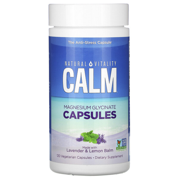 Calm, Magnesium Glycinate Capsules with Lavender & Lemon Balm, 120 Vegetarian Capsules
