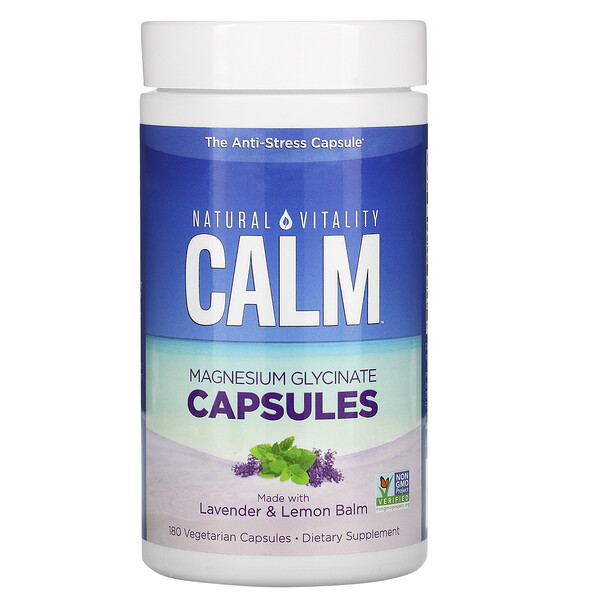Natural Vitality, Calm, Magnesium Glycinate Capsules with Lavender & Lemon Balm, 180 Vegetarian Capsules