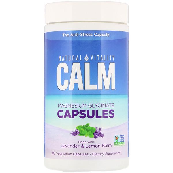 Natural Vitality, Calm, капсулы с глицинатом магния, 180растительных капсул