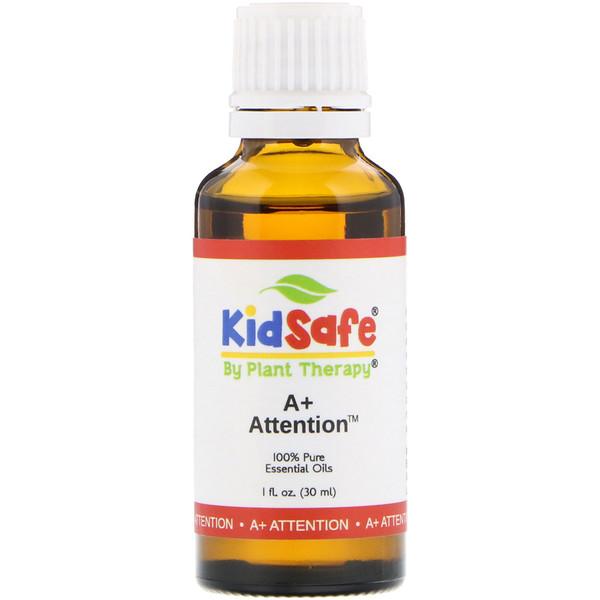 KidSafe, 100% чистые эфирные масла, A+ Attention, 1 ж. унц. (30 мл)
