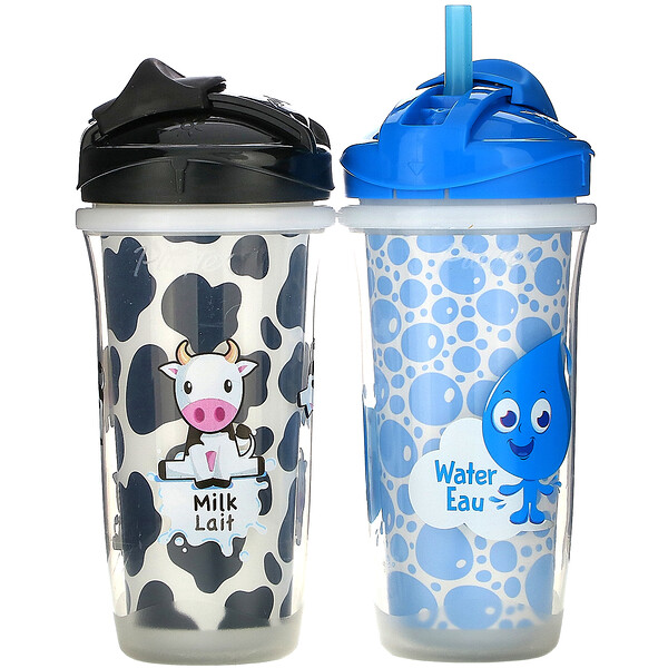Sipsters, Milk & Water Cup, 12+ Months, 2 Cups, 9 oz (266 ml) Each