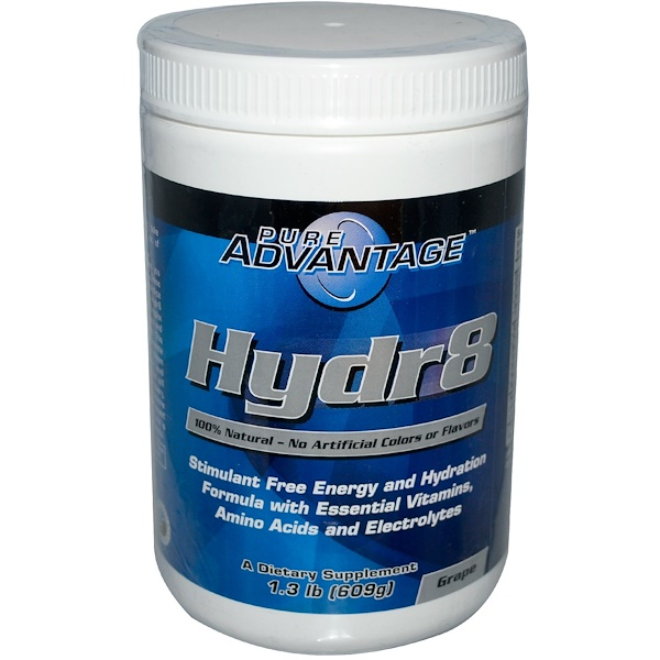 Pure Advantage, Hydr8, Формула Энергии и Увлажнения без Стимуляторов, Виноград 1.3 фунта (609 г) (Discontinued Item)