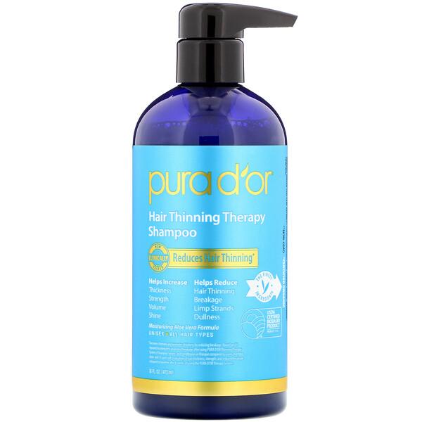 Pura D'or, Лечебный шампунь для тонких волос, 16 ж. унц. (473 мл)