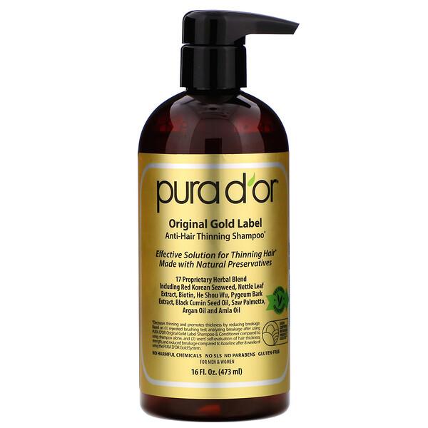 Pura D'or, Шампунь против выпадения волос, 473мл (16жидк.унций)