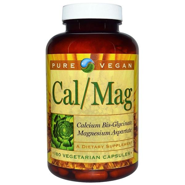 Pure Vegan, Cal/Mag, 180 Vegetarian Capsules (Discontinued Item)