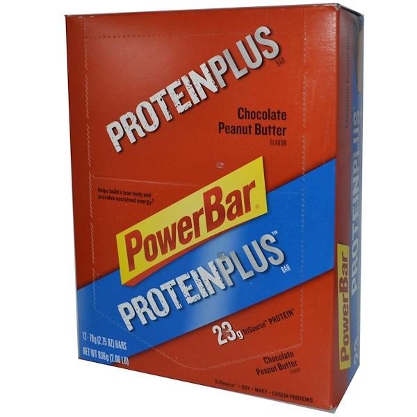 PowerBar, Protein Plus, Chocolate Peanut Butter Flavor, 12 Bars, 2.75 oz (78 g) Each (Discontinued Item)