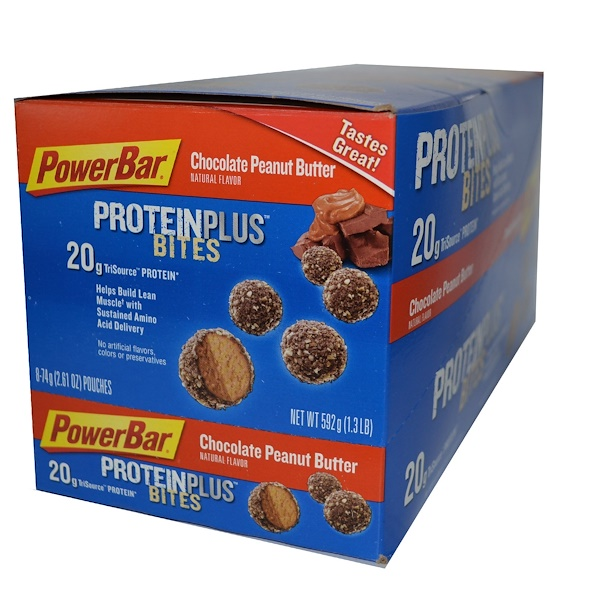 PowerBar, Protein Plus, Bites, Chocolate Peanut Butter, 8 Pouches, 2.61 oz (74 g) Each (Discontinued Item)