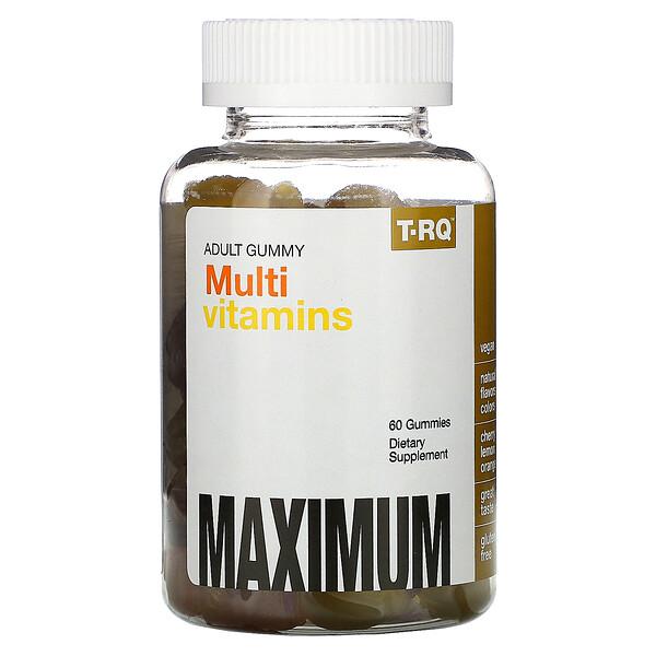 T-RQ, жевательные мультивитамины для взрослых, со вкусом вишни, лимона и апельсина, 60жевательных таблеток