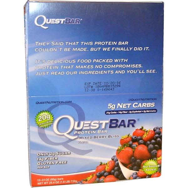 Quest Nutrition, QuestBar, белковый батончик, наслаждение из смешанных ягод, 12 батончиков, 2,1 унции (60 г) каждый (Discontinued Item)