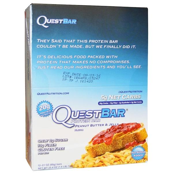 Quest Nutrition, QuestBar, белковый батончик, арахисовое масло и желе, 12 батончиков, 2,1 унции (60 г) каждый (Discontinued Item)