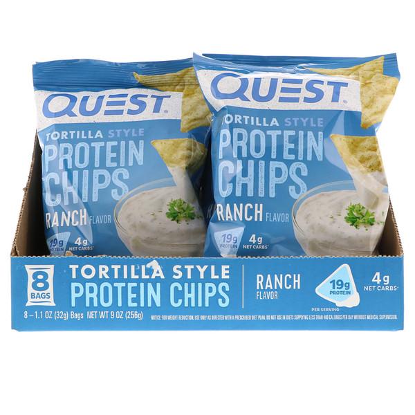 Quest Nutrition, Протеиновые чипсы а-ля тортилья, со вкусом соуса ранч, 32г (1,1унции) (Discontinued Item)