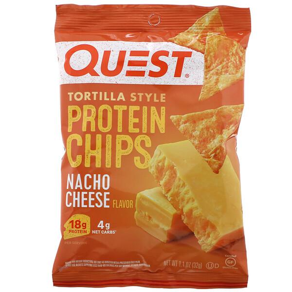Tortilla Style Protein Chips, Nacho Cheese, 12 Bags, 1.1 oz (32 g ) Each