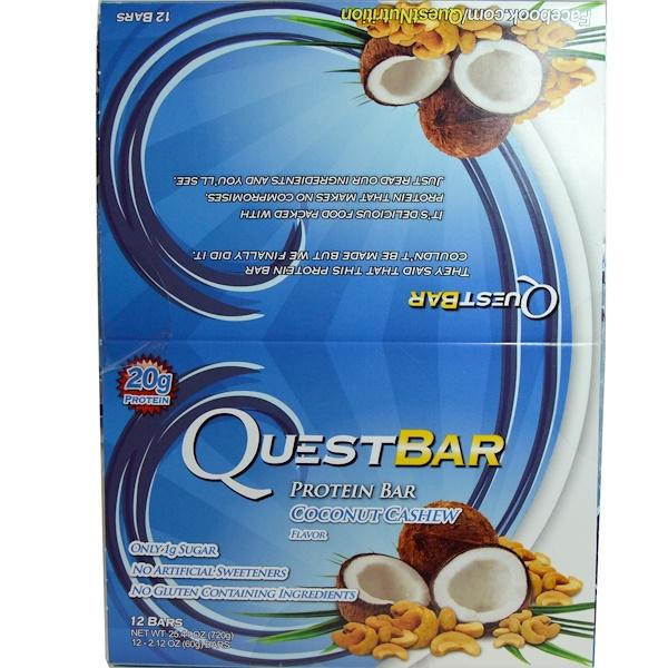 Quest Nutrition, Натуральные белковые плитки, кокос и кешью, 12 плиток, 2.12 унций (60 г) в каждой (Discontinued Item)