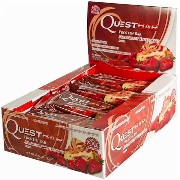 Quest Nutrition, Белковые батончики, Вкус чизкейка из клубники, 12 штук, 2.12 унции (60 г) каждый (Discontinued Item)
