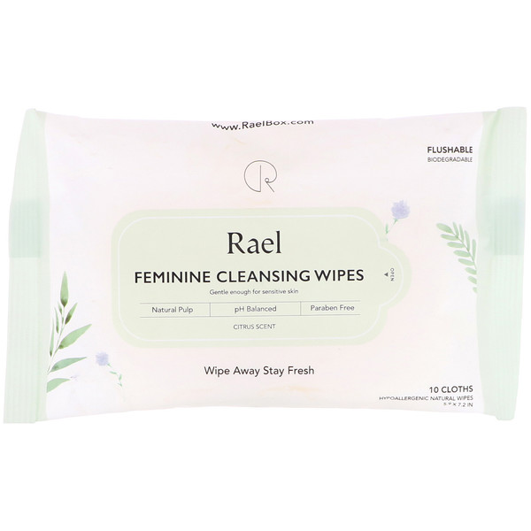 Rael, Женские очищающие салфетки, цитрусовый аромат, 10 салфеток (Discontinued Item)