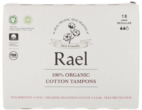 Rael, 100% органические хлопковые тампоны, со средней впитывающей способностью (Regular), 18 тампонов (Discontinued Item)
