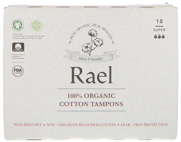 Rael, 100% органические ватные тампоны, с высокой впитывающей способностью (Super), 18 тампонов (Discontinued Item)