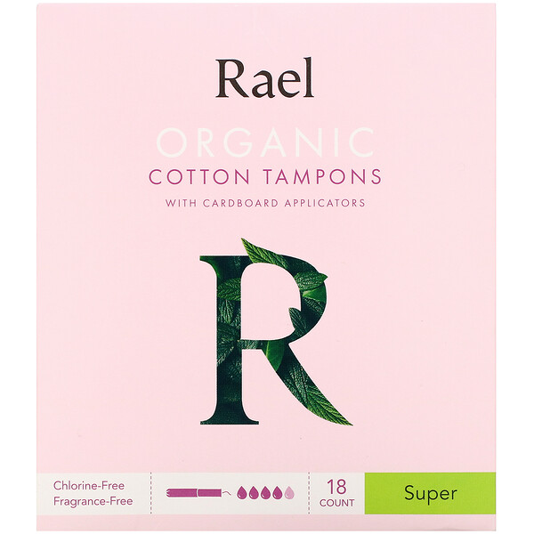 Organic Cotton Tampons with Cardboard Applicators, Super, 18 Count