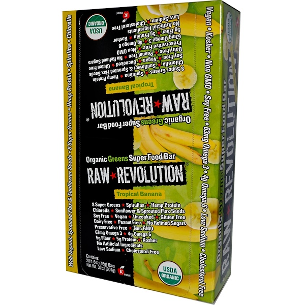 Raw Rev, Organic Greens Super Food Bar, Tropical Banana, 20 Bars, 1.6 oz (46 g) Each (Discontinued Item)