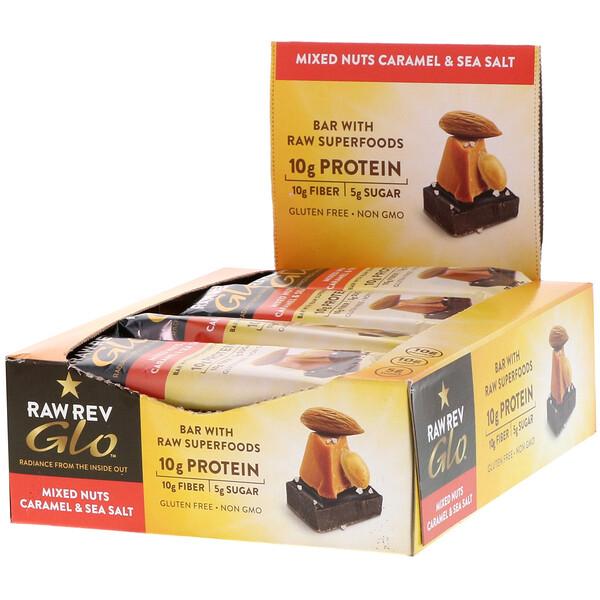 Glo, Смесь орешков с карамелью & морской солью, 12 батончиков по 1,6 унции (46 граммов)