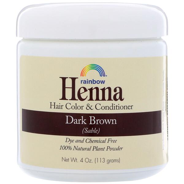 Хна, краска и кондиционер для волос, темный коричневый (соболь), 113г