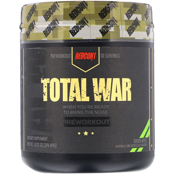 Redcon1, Total War, Preworkout, Green Apple, 13.93 oz (394.89 g) (Discontinued Item)