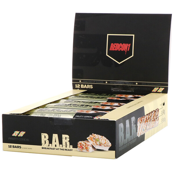 Redcon1, B.A.R. Breakfast at the Ready, Fruity Cereal, 12 Bars 1.76 oz ( 50 g) (Discontinued Item)