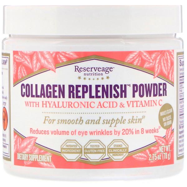 коллагеновый порошок Replenish с гиалуроновой кислотой и витамином С, 78 г (2,75 унции)