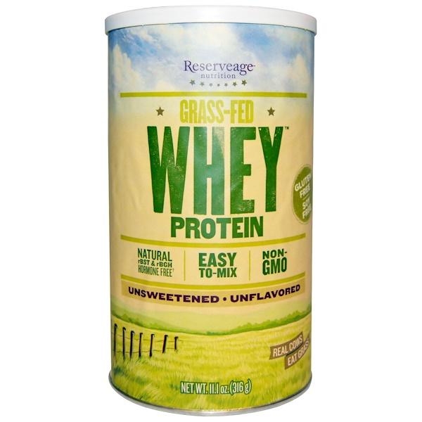 ReserveAge Nutrition, Сывороточный протеин Grass Fed, без вкусовых добавок, 11.1 унций (316 г) (Discontinued Item)