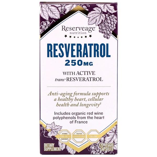 ReserveAge Nutrition, Ресвератрол с активным транс-ресвератролом, 250 мг, 120 растительных капсул