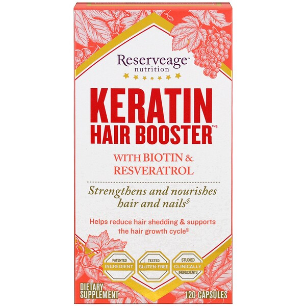 Keratin Hair Booster с биотином и ресвератролом, 120 капсул