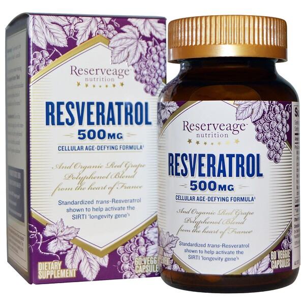 Ресвератрол, 500 мг, 60 растительных капсул