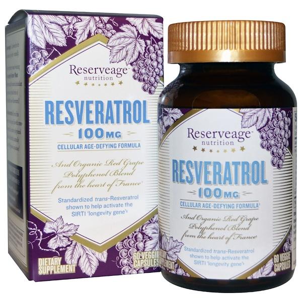 Resveratrol, 100 mg, 60 Veggie Capsules
