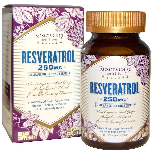 Resveratrol, действующая на клеточном уровне формула против старения, 250 мг, 60 растительных капсул