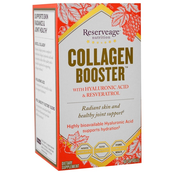ReserveAge Nutrition, Collagen Booster с гиалуроновой кислотой и ресвератролом, 60 капсул