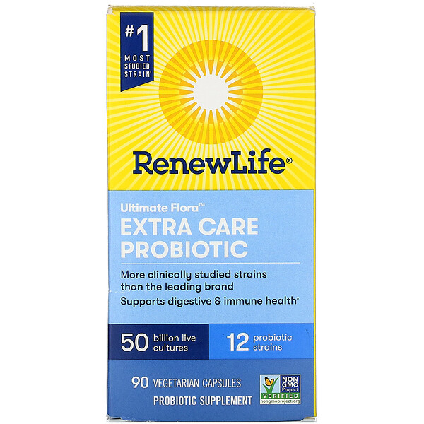 Renew Life, Extra Care, Ultimate Flora Probiotic, 50 Billion Live Cultures, 90 Vegetarian Capsules