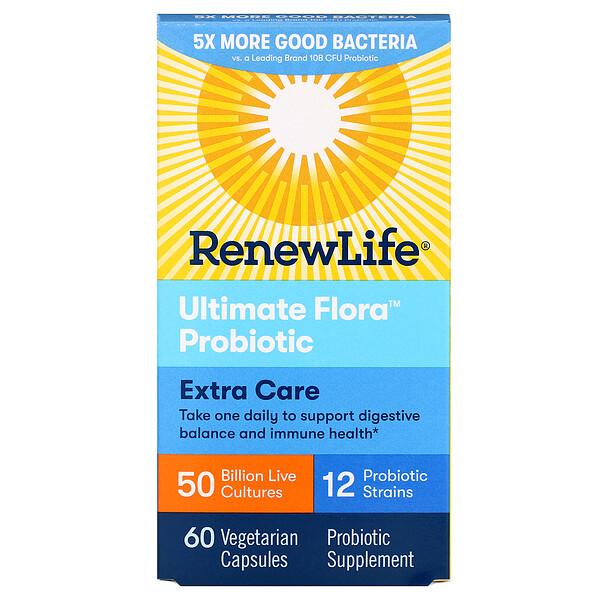Renew Life, Ultimate Flora, пробиотики максимального действия, 50 млрд живых культур, 60 вегетарианских капсул