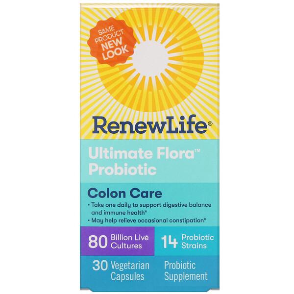 Renew Life, Здоровый кишечник, пробиотик Ultimate Flora, 80млрд живых культур, 30вегетарианских капсул