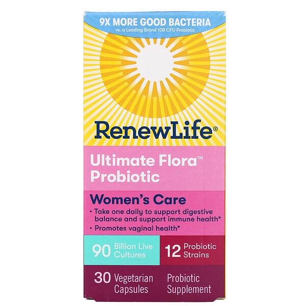 Renew Life, Комплексная добавка для женщин, пробиотик Ultimate Flora, 90млрд живых культур, 30вегетарианских капсул