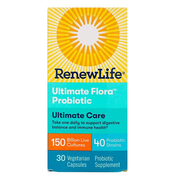 Renew Life, Максимальное действие, пробиотик Ultimate Flora, 150 млрд живых культур, 30 вегетарианских капсул (Ice)  (Discontinued Item)