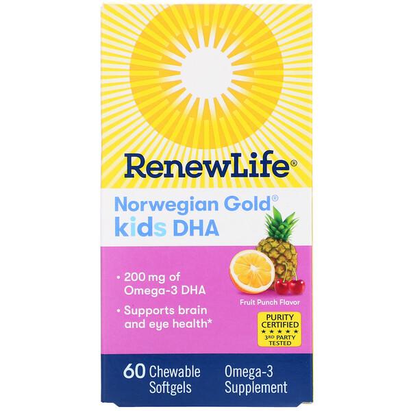 Norwegian Gold, ДГК для детей, со вкусом фруктового пунша, 200 мг, 60 жевательных мягких капсул