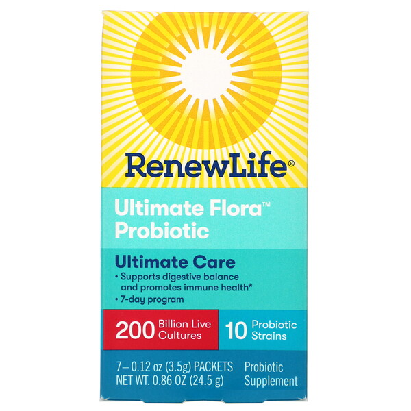 Renew Life, Ultimate Care, Ultimate Flora Probiotic, 200 Billion Live Cultures, 7 Packets, 0.12 oz (3.5 g) Each